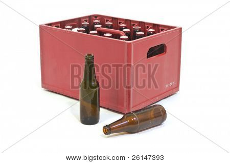 Red Beer crate with two empty bottles in front
