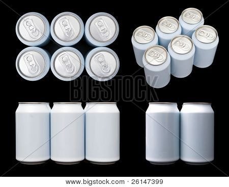 Four projections (top, front, side and orthogonal) of a six pack blank beverage cans.