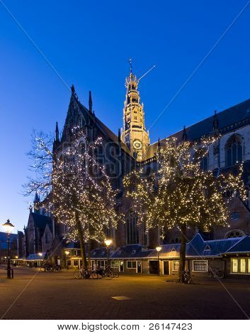 The famous st Bavo Church in Haarlem during christmas time