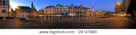 Panorama of the market square in Haarlem, the netherlands at sunset during winter
