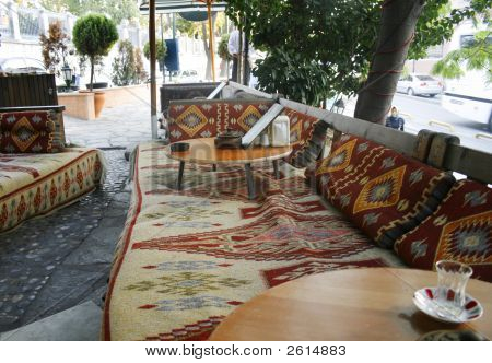 Turkish Outdoor Cafe With Carpets