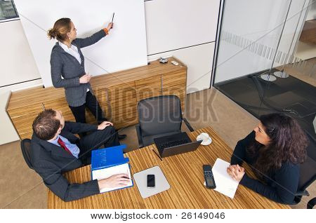 Three young business associates in a meeting, one presenting a theory in front of a white screen.