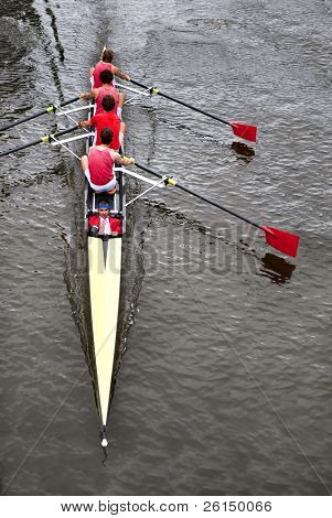 Rowing: a coxed four (4+) from above,