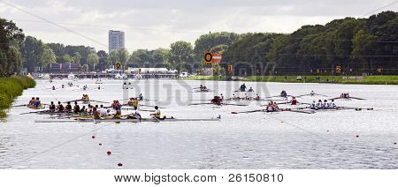 BOSBAAN, AMSTERDAM - 22 JULY: Rowing crews waiting for the start signal of their heat during the world championships under 23. On July 22, 2011 Bosbaan, Amsterdam, Netherlands
