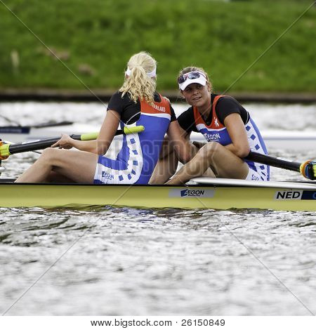 AMSTERDAM-JULY 23: Janssen, Hogerwerf (BW2-) The Dutch Women's pairs win bronze medal at the world championships rowing under 23. On July 22, 2011 in Bosbaan, Amsterdam, The Netherlands