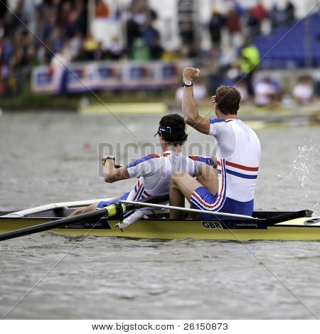 AMSTERDAM-JULY 23: Chambers, Emery (GBR BLM2-) win gold in a world record time of 6:26.90 at the world championships rowing under 23. On July 22, 2011 in Bosbaan, Amsterdam, The Netherlands