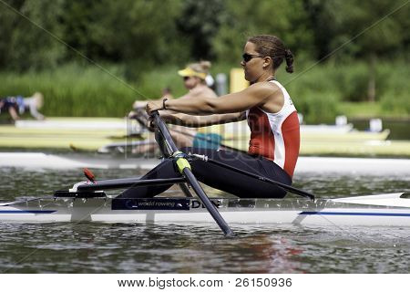 AMSTERDAM-JULY 22: Anne Anderson (Denmark single skulls) starts in her Repechage heat at the world championships under 23. On July 22, 2011 in Bosbaan, Amsterdam, The Netherlands