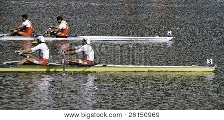 AMSTERDAM-JULY 22: Georgiev / Vasilev (BUL) beat Moron Romero / Garcia (ESP) by less than a second during the world rowing championships. On July 22, 2011 in Bosbaan, Amsterdam, The Netherlands