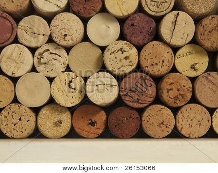 Wine Corks On A Shelf