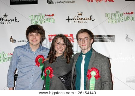 LOS ANGELES - NOV 27:  Brendan Meyer, Matreya Fedor, Gig Morton arrives at the 2011 Hollywood Christmas Parade at Hollywood Boulevard at Sycamore on November 27, 2011 in Los Angeles, CA