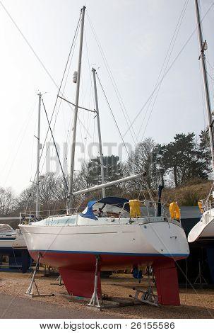 Sailboat In A Boatyard