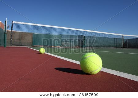 Tennis balls on a court