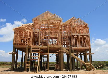 Home on stilts under construction