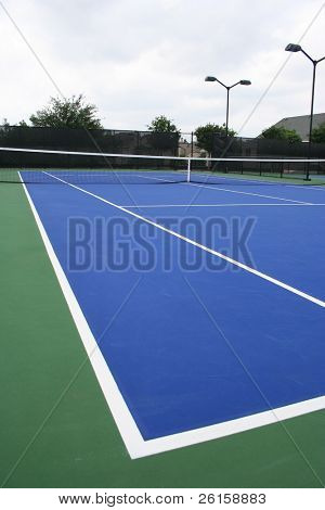 Modern blue tennis court