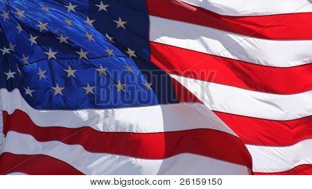 Sunlit rippled US flag
