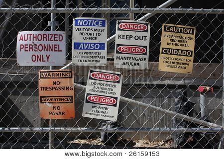 Warning signs at a construction site