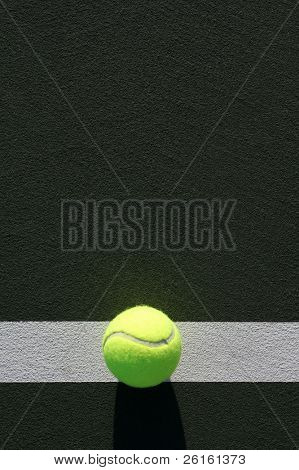Tennis Ball on the Court with room for copy above