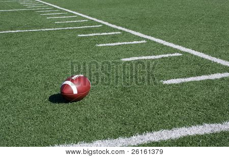 Yard Lines of a Football Field with Ball