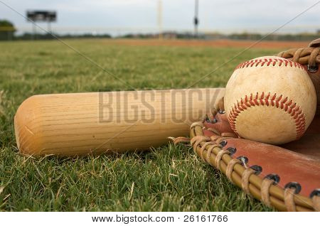 Baseball & Bat on the Field