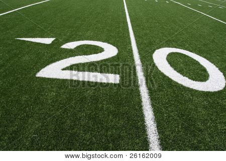 Twenty Yard Line of an American Football Field angled for effect