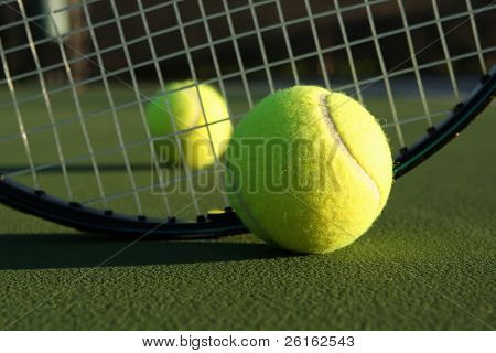 Tennis Balls and Racket with room for copy