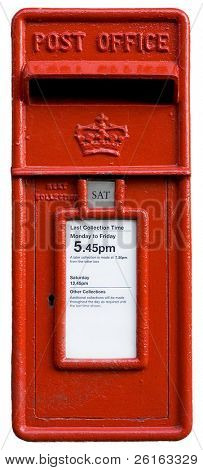 british red postbox, letter box, symbol, isolated on white