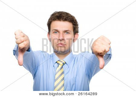 young businessman shows thumbs down gesture, studio shoot isolated on white background