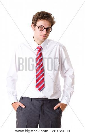 young attractive businessman in white shirt and red necktie, holds his hands in pockets, studio shoot isolated on white background