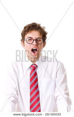 young and attractive businessman, tired and exhausted, yawn, isolated on white