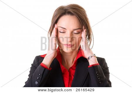 young attractive businesswoman holds her head, pain concept, studio shoot isolated on white