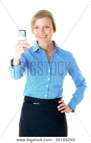 blonde woman in blue shirt takes photo with mobile phone, isolated on white