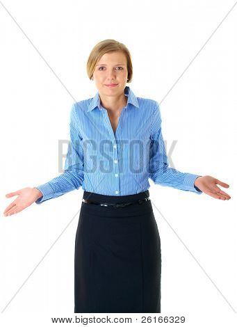 uncertain young blonde businesswoman, isolated on white