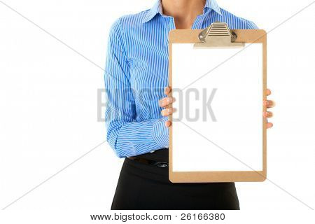 businesswoman in blue stripped shirt holds clipboard with A4 size white card, studio shoot isolated on white