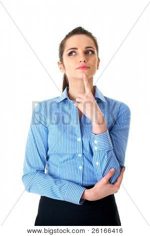 young businesswoman hold her finger at her chin, hard decision, studio shoot isolated on white background