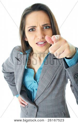 very angry businesswoman point her finger to camera, isolated on white