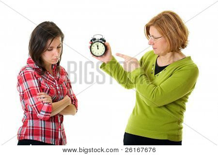 mother warn her daughter for being late, isolated on white