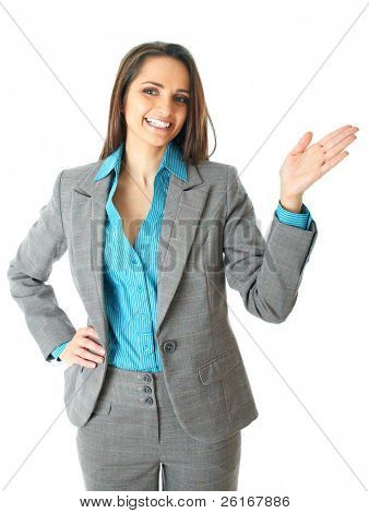 attractive female conference speaker during presentation, hand gesture, shows something, isolated on white