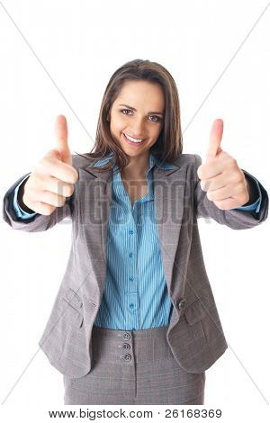 young female shows thumb up gesture, wears blue shirt and suit, isolated on white