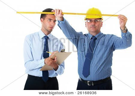 senior and junior businessman discuss and argue over something during their meeting, one of them wear yellow hardhat, isolated on white