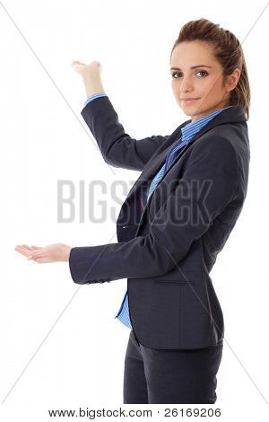 Business woman point back with her hand, isolated on white