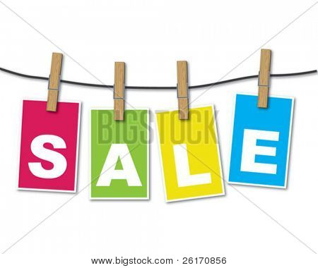 Colorful sale tags hanging on rope