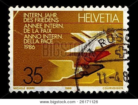 SWITZERLAND-CIRCA 1986:A stamp printed in Switzerland shows image of International Year of Peace, circa 1986.