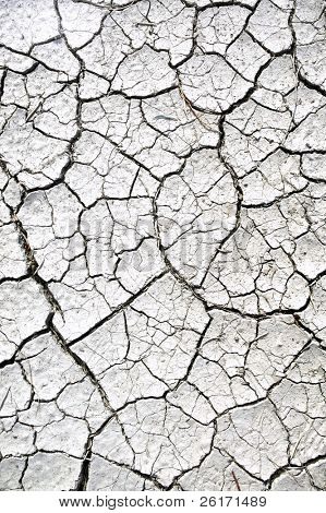 Closeup of dry cracked mud at an old lake bed