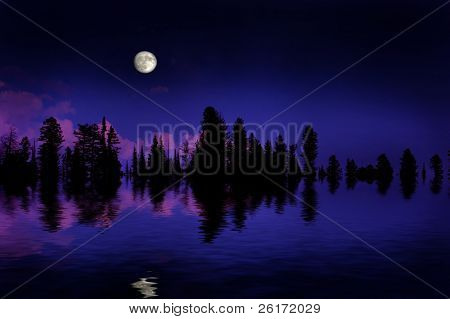 Moonrise over pine trees in the mountains with reflection in lake