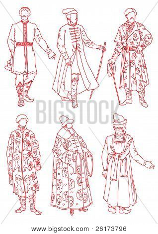 Men In The Ancient Russian Suits