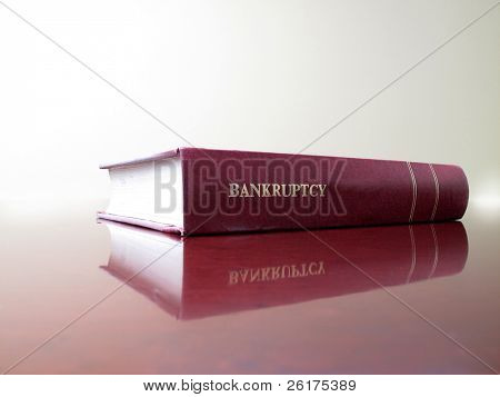 Close up of an old law book on bankruptcy