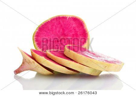 sliced radish isolated on white