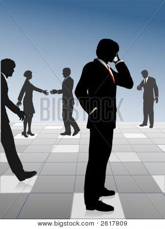 Beschäftigt Geschäftsleute Netzwerk- & verbinden Sie auf Grid