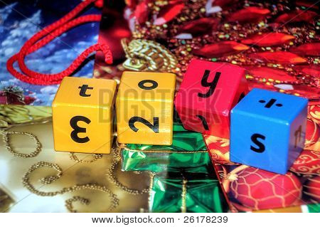 word toys on christmas gift bags