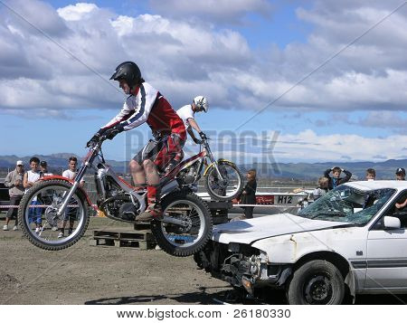 Two Motorbike Stunt Riders